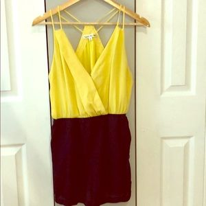 Yellow and Navy Strappy Short Romper